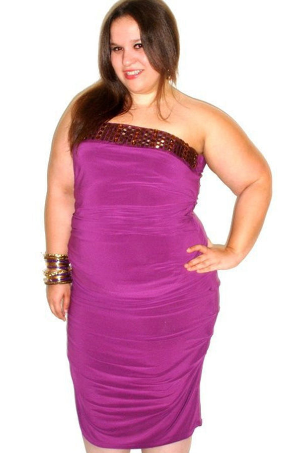 Sexy Purple Strapless Dress (Plus) - MY SEXY STYLES