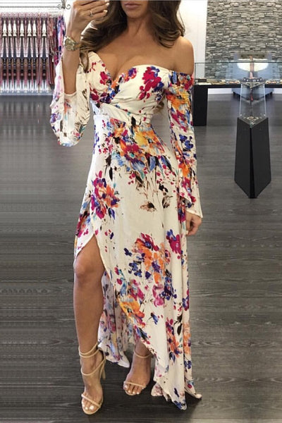 Sexy Sweetheart Neck Flower Print High Low Dress