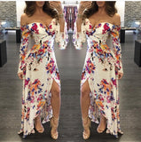 Sexy Sweetheart Neck Flower Print High Low Dress - MY SEXY STYLES
