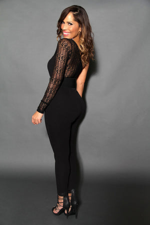 Sexy Belted Black Laced Single-Sleeve Jumpsuit - MY SEXY STYLES