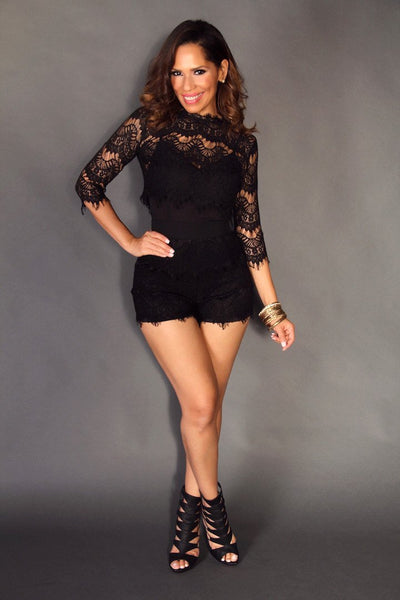 Sexy Black Cocktail Romper W/ Convertible Crochet Cardigan - MY SEXY STYLES