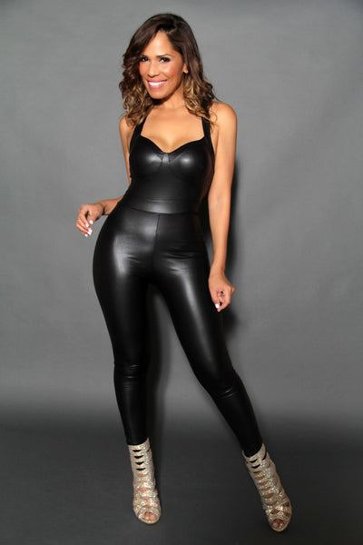 Sexy Black Faux Leather Corset Back Catsuit Jumpsuit - MY SEXY STYLES