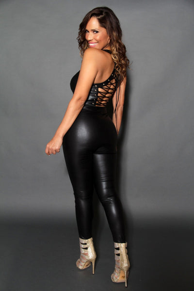 Sexy Black Faux Leather Corset Back Catsuit Jumpsuit - MY SEXY STYLES  - 3
