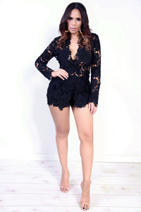 Sexy Black Flower Crochet Shorts and Blazer Two Piece Set