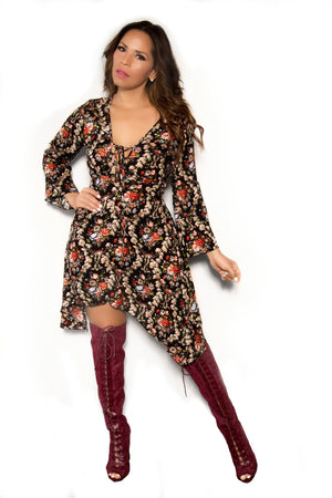 Sexy Black Long Sleeved Floral Print Dress - MY SEXY STYLES