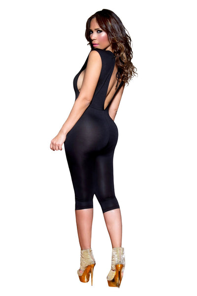 Sexy Black Mockneck Clubbing Jumpsuit With Sheer Deep Plunge V-Neck - MY SEXY STYLES  - 4