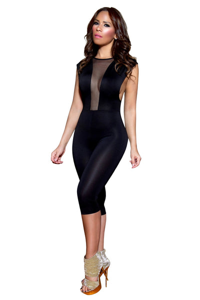 Sexy Black Mockneck Clubbing Jumpsuit With Sheer Deep Plunge V-Neck - MY SEXY STYLES  - 2