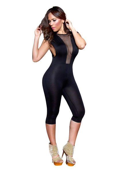 Sexy Black Mockneck Clubbing Jumpsuit With Sheer Deep Plunge V-Neck - MY SEXY STYLES  - 3