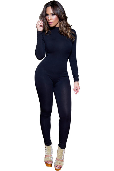 Sexy Black Mockneck Long Sleeved Full Length Bodysuit - MY SEXY STYLES  - 1