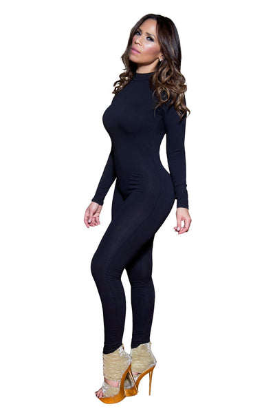 Sexy Black Mockneck Long Sleeved Full Length Bodysuit - MY SEXY STYLES  - 3