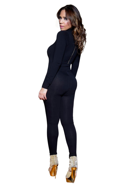 Sexy Black Mockneck Long Sleeved Full Length Bodysuit - MY SEXY STYLES  - 5