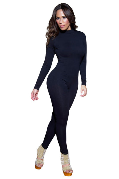 Sexy Black Mockneck Long Sleeved Full Length Bodysuit - MY SEXY STYLES  - 4