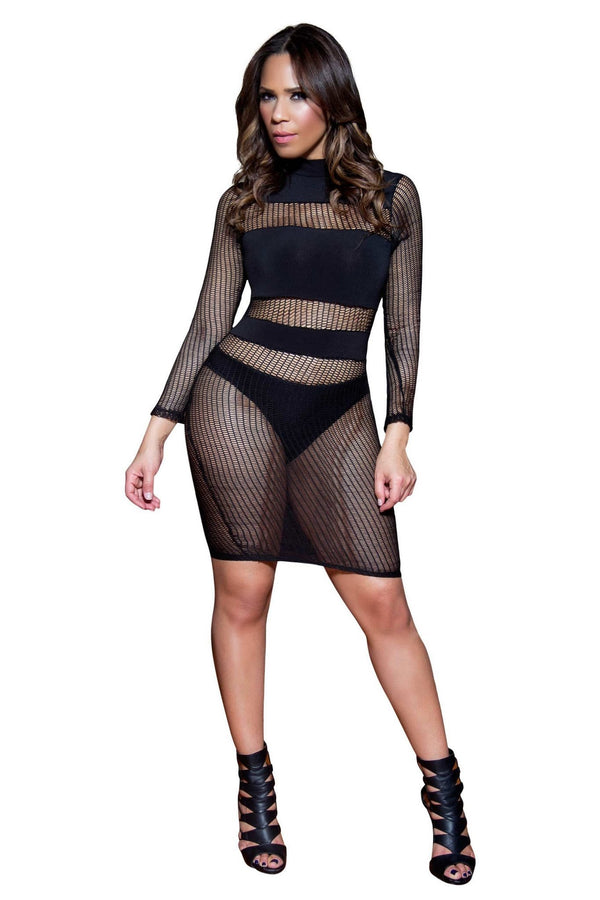 Sexy Black Sheer Long Sleeves Clubbing Mini Dress - MY SEXY STYLES