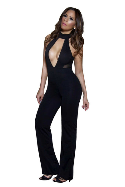 Kendall Jenner Inspired Celebrity Deep Plunge Jumpsuit in Black - MY SEXY STYLES