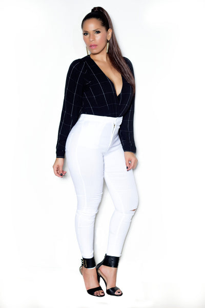 Sexy Black W/ White Stripes Long Sleeves Shirt Bodysuit - MY SEXY STYLES  - 2