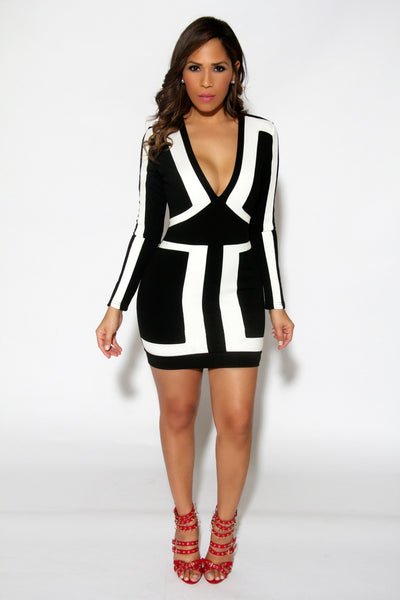 Sexy Black and White Color Block Long Sleeves Cocktail Party Mini Dress - MY SEXY STYLES