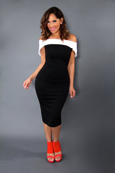 Sexy Black and White Off The Shoulders Cocktail Bodycon Midi Dress - MY SEXY STYLES