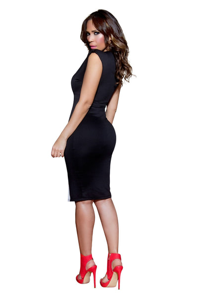 Sexy Black and White V-Neck Cocktail Bodycon Midi Dress - MY SEXY STYLES