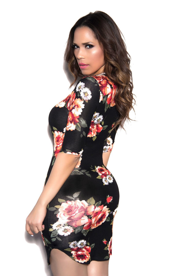 Sexy Bodycon Black Rust Flower Dress - MY SEXY STYLES  - 2