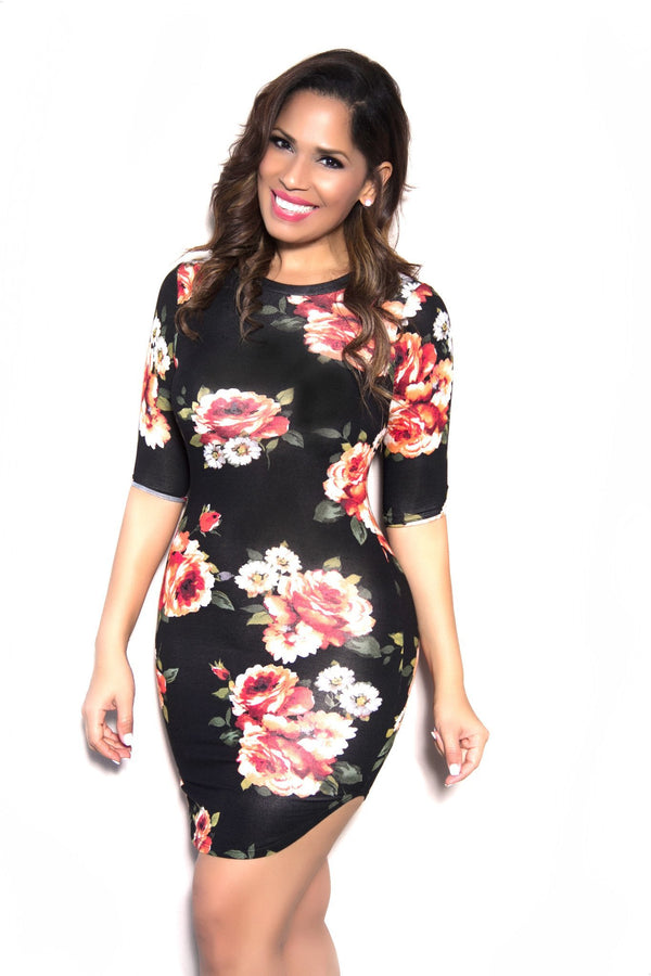 Sexy Bodycon Black Rust Flower Dress - MY SEXY STYLES  - 1