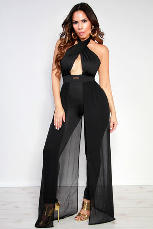 Sexy Crossed Halter Top W/ Side Sheer Train Bodycon Jumpsuit in Black