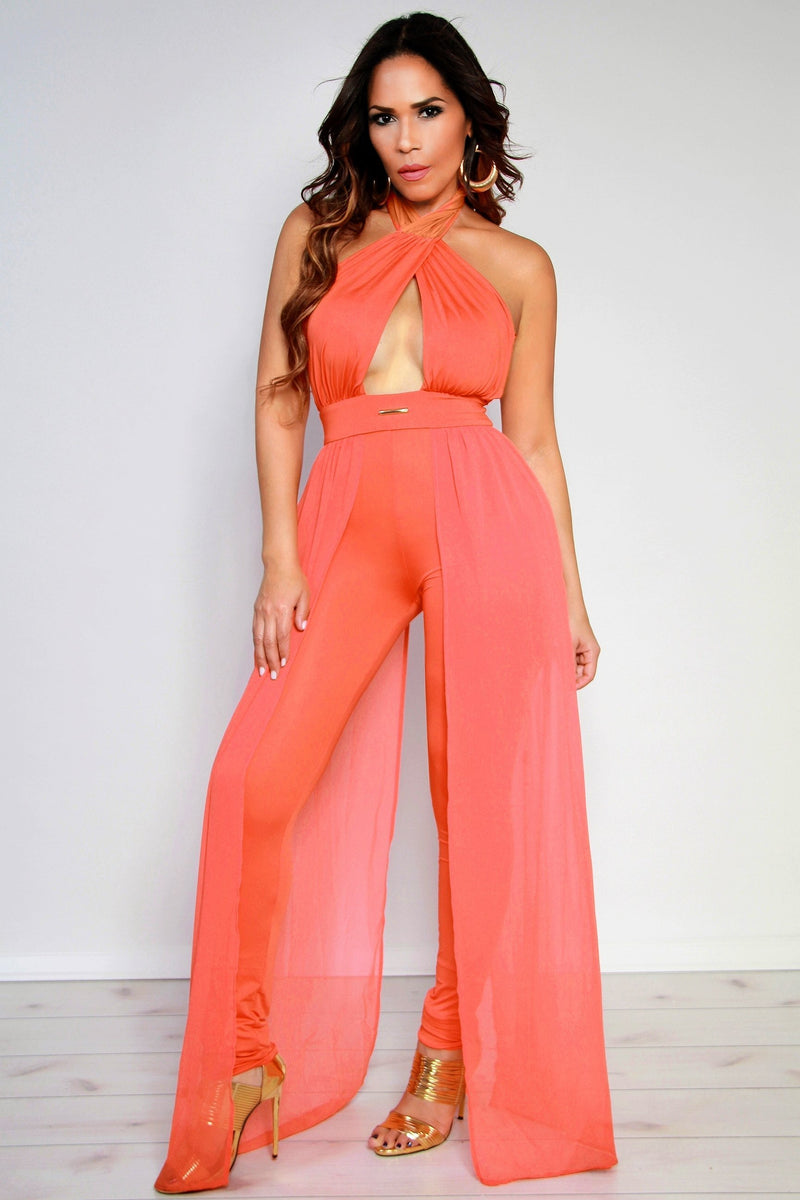 Sexy Crossed Halter Top W/ Side Sheer Train Bodycon Jumpsuit in Coral