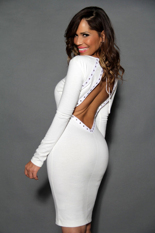 Sexy Cut Out Back Long Sleeves White Bodycon Dress - MY SEXY STYLES