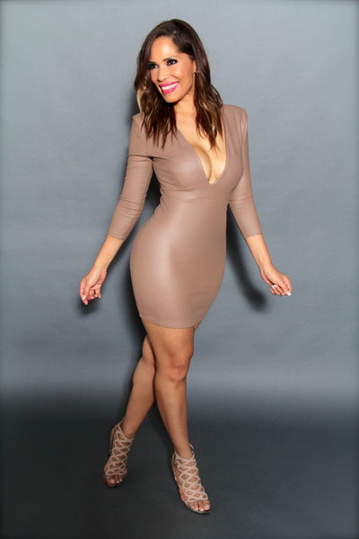 Sexy Faux Leather Plunge V-Neck Quarter Sleeved Mini Dress in Mocha - MY SEXY STYLES