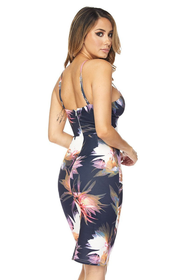 Sexy Flower Print V-Neck Bodycon Cocktail Midi Dress in Navy - MY SEXY STYLES