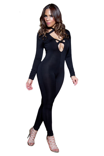 Sexy Front Crossed Straps Plunge V-Neck Long Sleeves Jumpsuit - MY SEXY STYLES