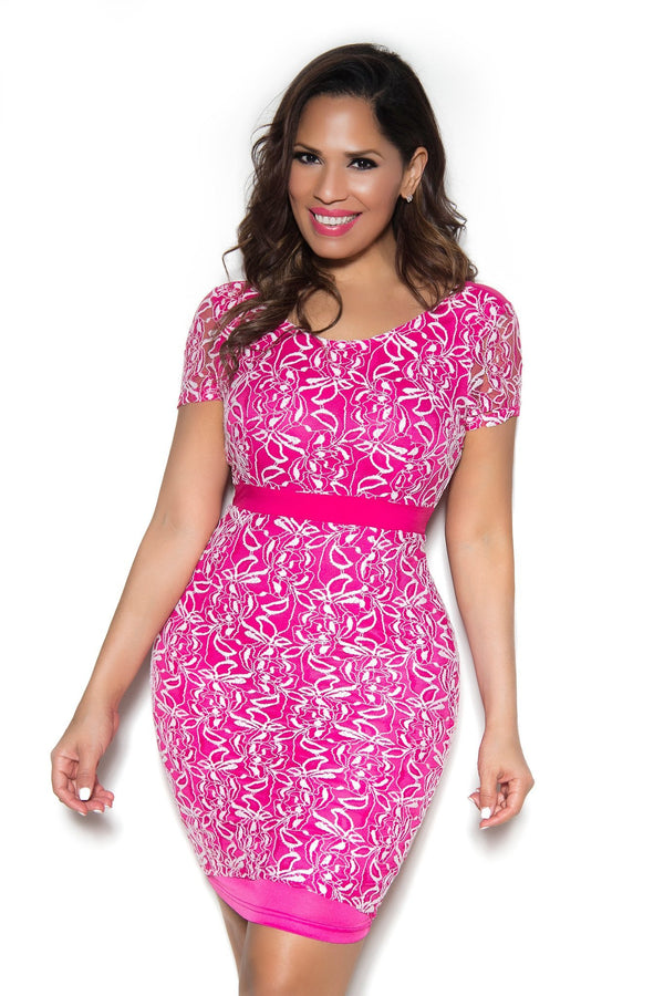 Sexy Fuchsia White Embroidered Short Sleeve Party Dress - MY SEXY STYLES  - 1