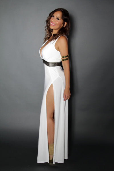 Sexy Goddess Maxi Dress With Double Front Slit and Golden Waist Elastic Band - MY SEXY STYLES