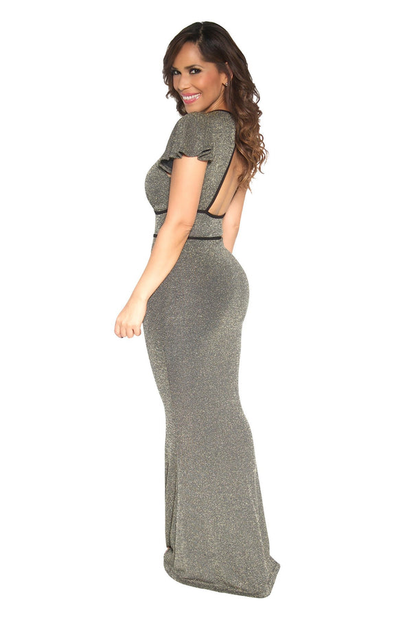 Sexy Golden Deep V-Neck Cocktail Party Maxi Dress - MY SEXY STYLES