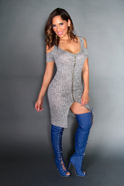 Sexy Gray Knit Mini Dress With Cutout Shoulders With Front Slit - MY SEXY STYLES