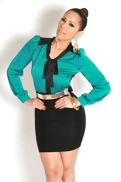 Sexy Green and Black Long Sleeved Office Mini Dress W/Tie - MY SEXY STYLES  - 3