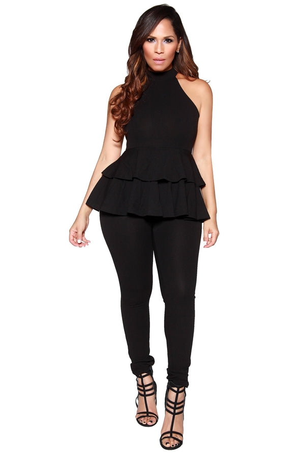Sexy High Neck Peplum Sleeveless Jumpsuit in Black