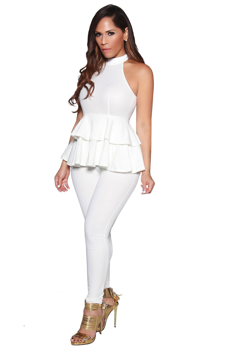 Sexy High Neck Peplum Sleeveless Jumpsuit in Ivory - MY SEXY STYLES
