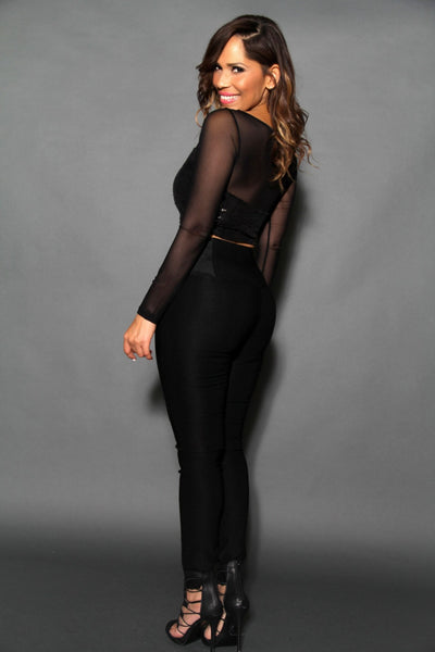 Sexy Black Sequined Crop Top With Sheer Long Sleeves - MY SEXY STYLES  - 3