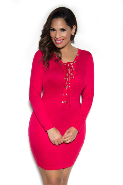 Sexy Hot Red Front Lace Up Long Sleeve Bodycon Date Dress - MY SEXY STYLES  - 1