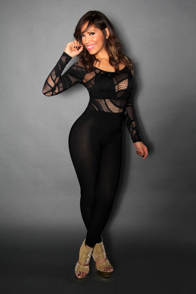 Sexy Lace Long Sleeve Clubbing Jumpsuit - MY SEXY STYLES