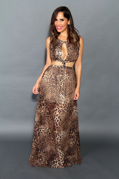 Sexy Leopard Print W/ Cutouts Cocktail Maxi Dress - MY SEXY STYLES