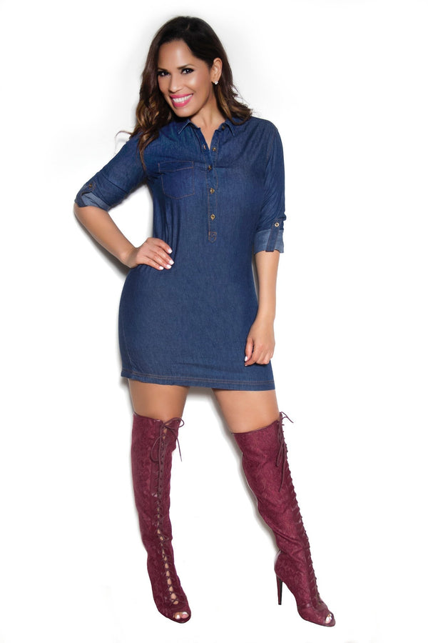 Sexy Long Sleeved Dark Denim Dress - MY SEXY STYLES  - 1