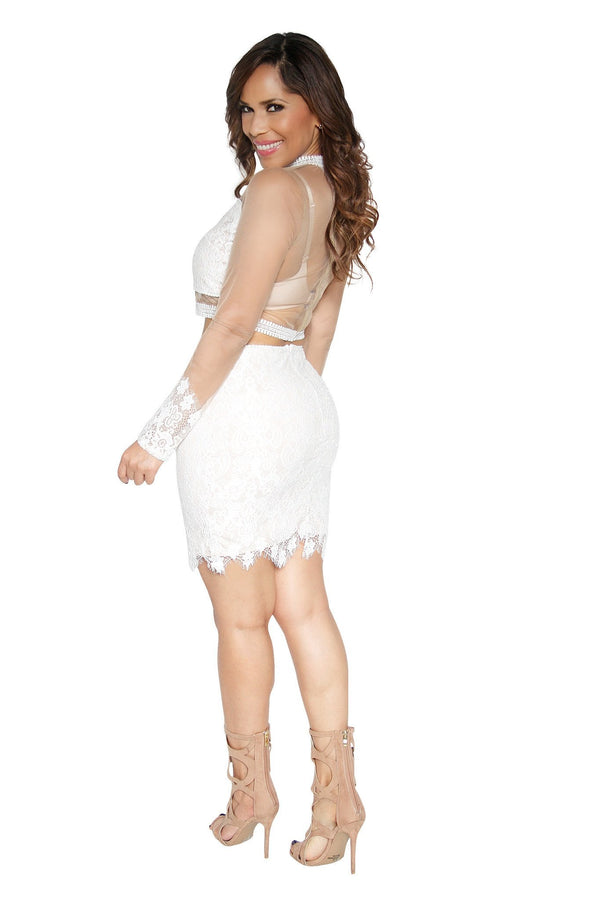 Sexy Long Sleeved Ivory Crochet Top and Skirt Set - MY SEXY STYLES  - 3