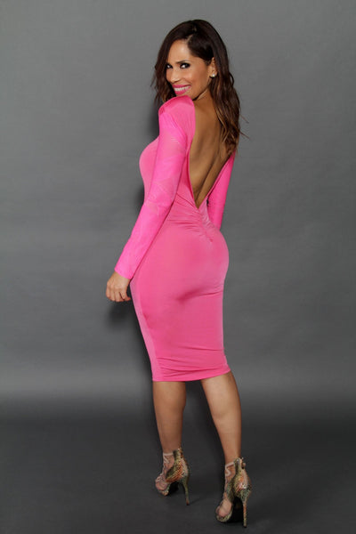 Sexy Long Sleeves Hot Pink Midi Dress With Plunge V Back Dress - MY SEXY STYLES