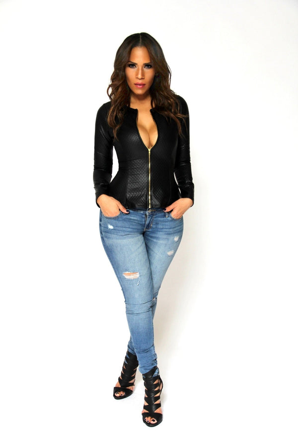 Sexy Long Sleeves Textured Black Faux Leather Jacket - MY SEXY STYLES