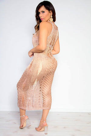 Sexy Metallic Rose Gold Knit Cover Up Maxi Dress