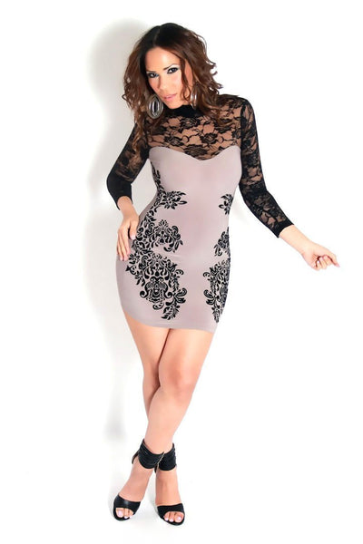 Sexy Floral Lace Sleeved Mocha Mini Dress W/ Back Cutout - MY SEXY STYLES  - 1