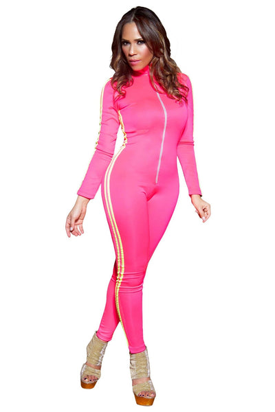 Sexy Mockneck Long Sleeved Striped Jumpsuit in Hot Pink - MY SEXY STYLES
