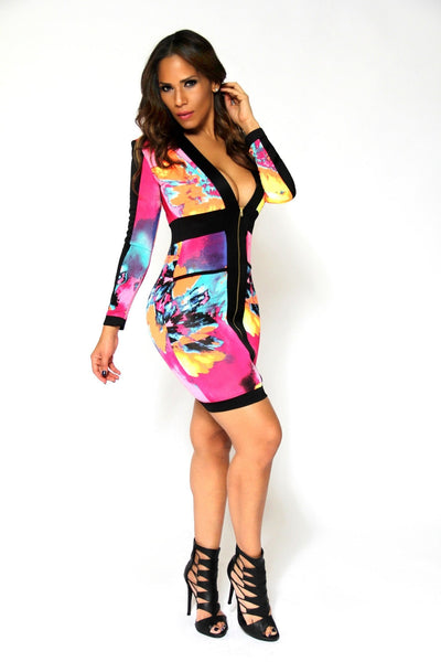 Sexy Multicolor Print Plunge V-Neck Cocktail Party Mini Dress - MY SEXY STYLES