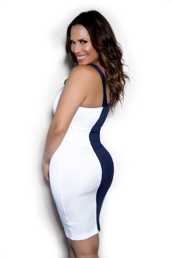 Sexy Navy Blue Ivory Bodycon Party Dress - MY SEXY STYLES  - 2